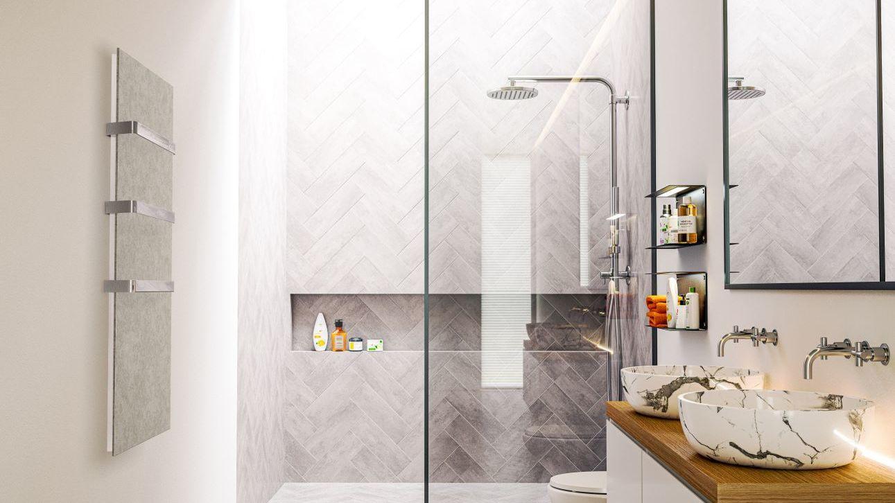 Infrarotheizung für das Bad mit Handtuchhalter.